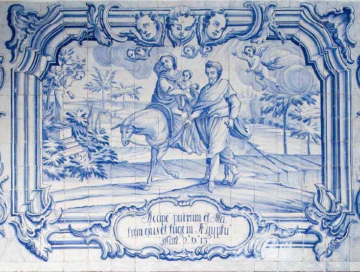 Fuga para o Egipto. Painel de composição figurativa do século XVIII, atribuído a Manuel Oliveira Bernardes.