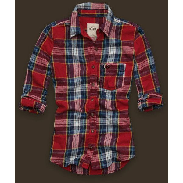 Arch Bay ($16) ❤ liked on Polyvore featuring tops, shirts, flannels, hollister, women, flannel shirt, red embroidered top, embroidered top, flannel top and vintage shirts