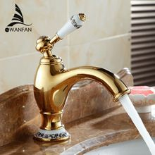 Banyo altın musluklar ile porselen antika pirinç banyo musluk su evye mikser dokunun Tek Kolu AL-7313K(China (Mainland))