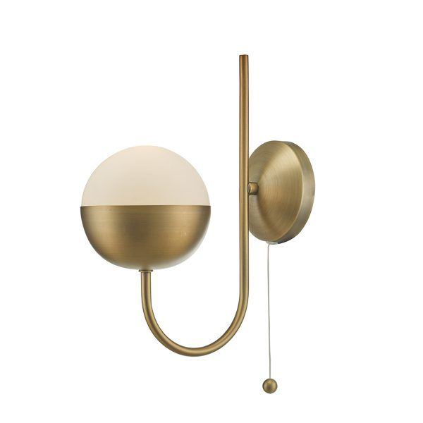 Dar And0742 Andre 1 Light Wall Light Aged Brass Lighting R Us In 2020 Brass Wall Lamp Globe Wall Light Brass Wall Light