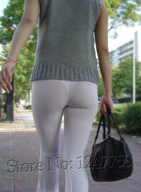 Sexy Hips Women Semi See Through Sheer Pants Leggings