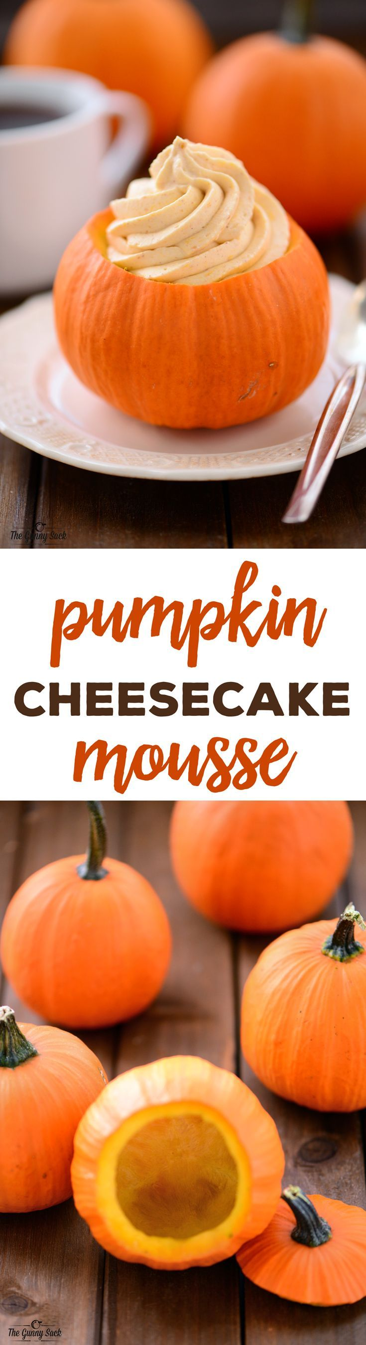 This Pumpkin Cheesecake Mousse recipe is a delicious, creamy dessert that is so fun to serve from mini pumpkins! It's perfect for Thanksgiving dinner.
