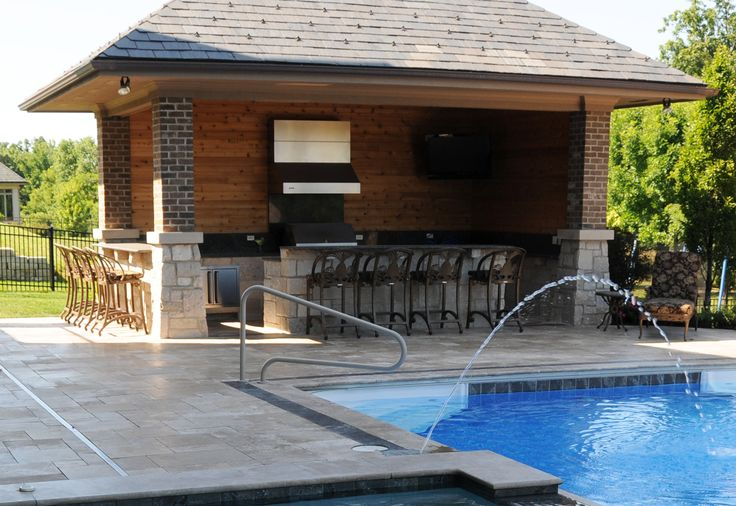 Pictures Of Outdoor Pool Bars : An outdoor kitchen with a bar seating area is a great way to prepare