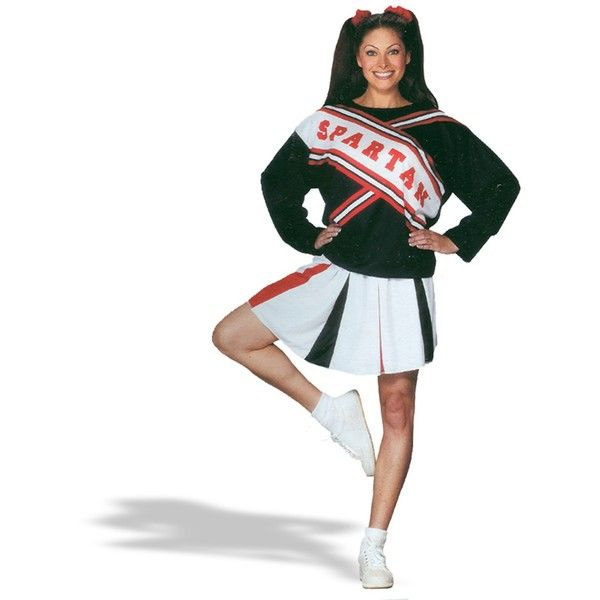 SNL Spartan Cheerleader Female Adult Costume ($29) ❤ liked on Polyvore featuring costumes, halloween costumes, spartan cheerleader costume, snl spartan cheerleader costume, adult halloween party costumes, adult cheerleader costume and adult costume