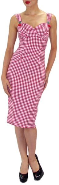 cocktail vintage dress in Red Gingham Print - Stop Staring! Clothing