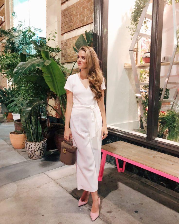 Gal Meets Glam GMG Now Daily Look 2-24-18 Club Monaco jumpsuit, Mark Cross bag, Prada pumps,