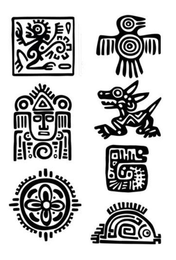 Conjunto De Azteca Maya Tatuajes Temporales Elegir Su Fav Etsy Aztec Art Mayan Art Aztec Tattoo