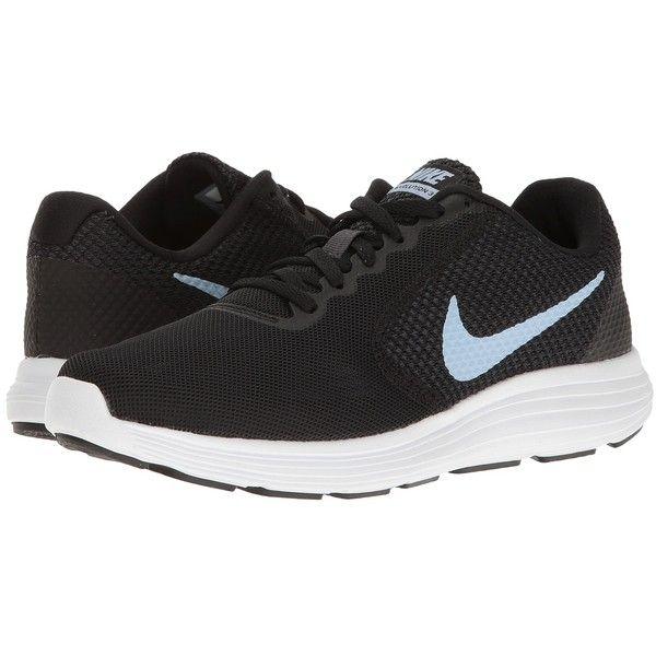 Nike Revolution 3 (Black/Aluminum) Women's Running Shoes ($50) ❤ liked