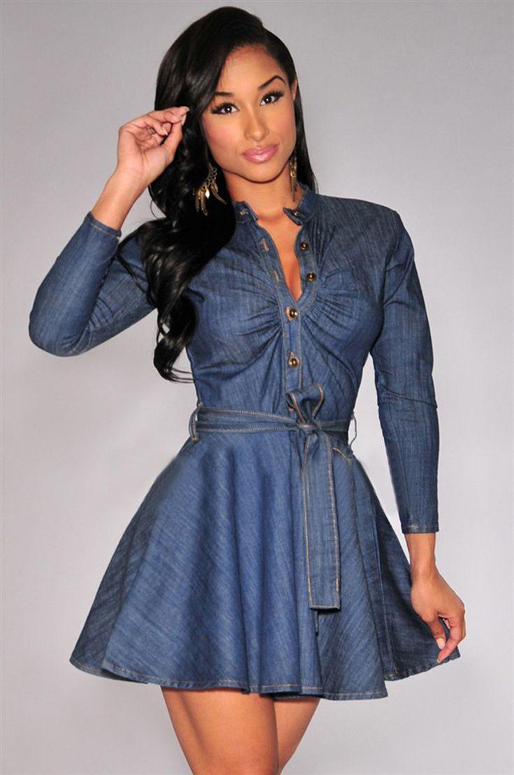 Fashion loose sexy womens long sleeve denim jeans shirt dress party club mini dress plus size