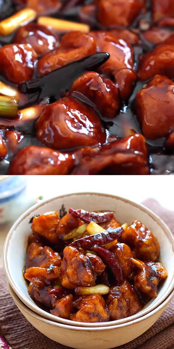 General Tso's Chicken with deep-fried chicken in a…