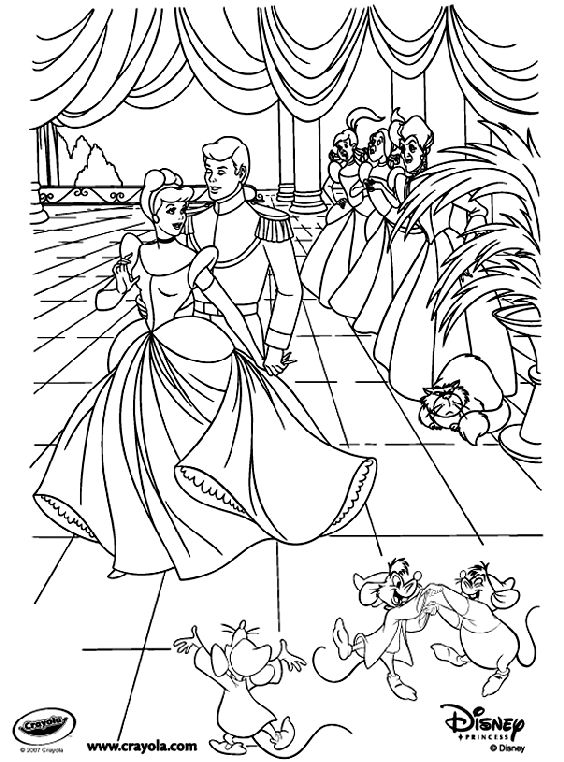 Disney Princess Cinderella At The Ball Coloring Page