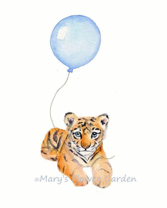 Baby Tier Drucke, Jungen Zimmer Wanddekoration, 8 X 10 drucken, Tiger Aquarell, blauer Ballon, Jungen Schlafzimmer, Tiger Illustration, Tier Kinderzimmer Kunst