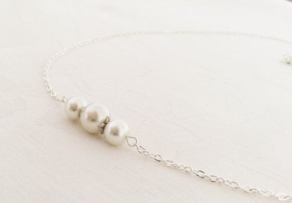 Floating Pearl Necklace, Pearl Jewellery Set, Ivory Pearl Necklace, Bridesmaid Necklace, Bridesmaid Gift, Wedding