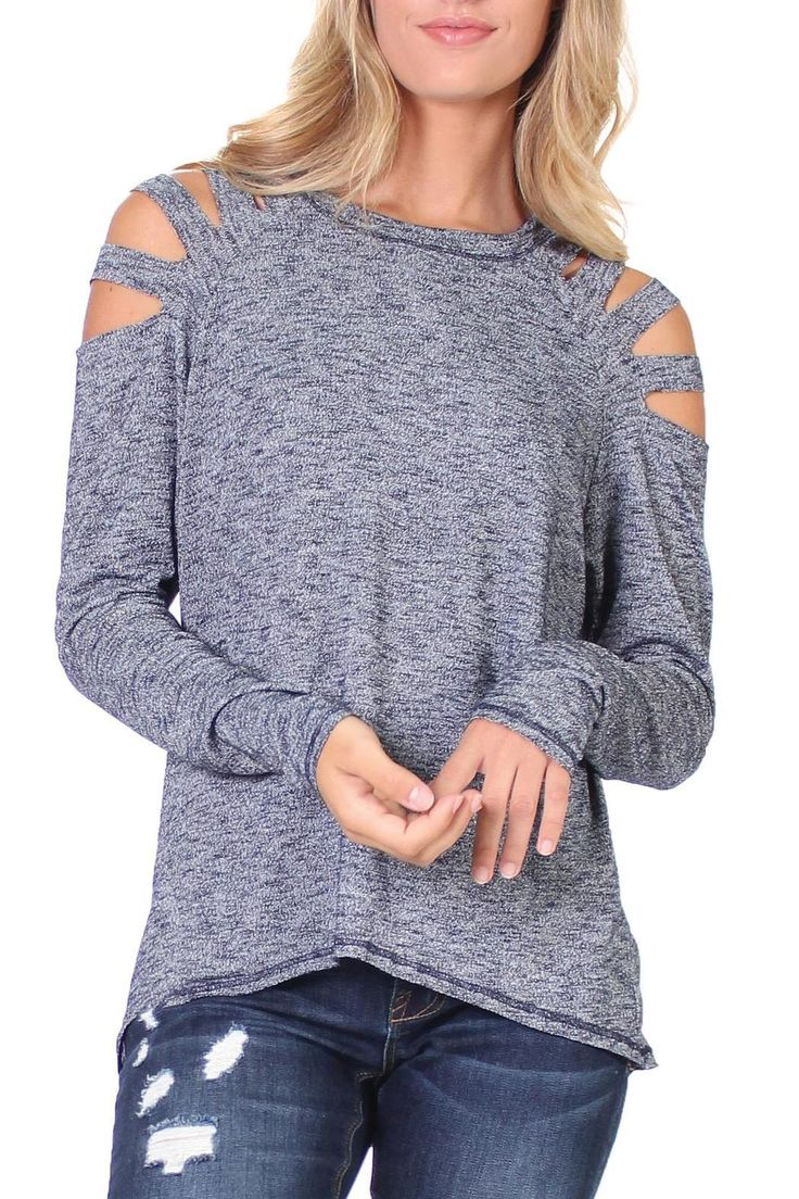 Long sleeve Hi-lo cold shoulder top with 4 slit . So soft and comfortable is great for day or night.  Cold Shoulder Top by Elan. Atlanta Georgia