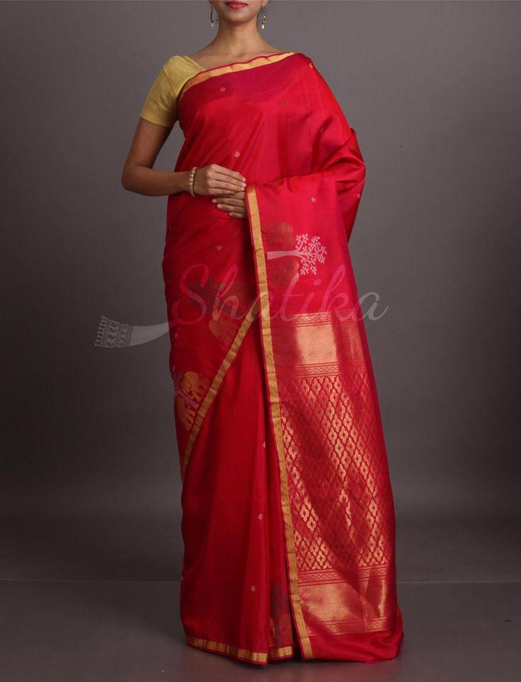 Anjali Kalpataru Motifs Thin Lace Border #WeddingSilkSaree