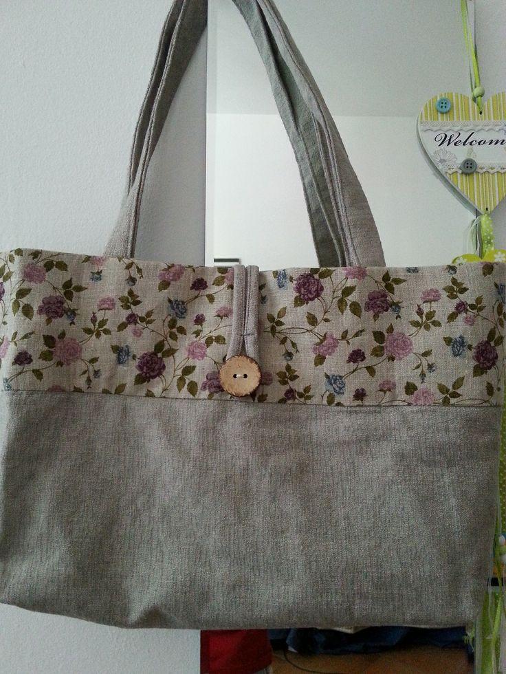 Borsa in lino con balza fantasia. #bag #lino #flower