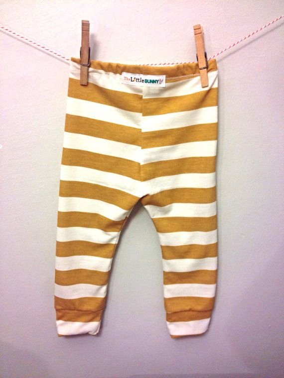 Mustard Baby Leggings stripe cotton stretch by TheLittleBunnyCo, $15.00