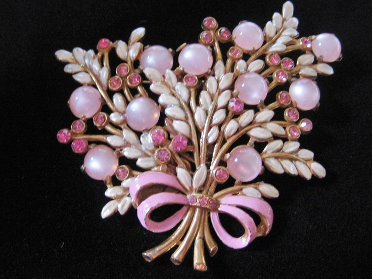 Large Faux  Pink Moonstone and Rhinestone Pin-Brooch