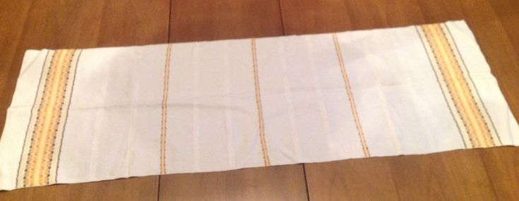 Muslin Table Scarf Runner Woven Cotton Gold Yellow Brown Damask Stripe Off White #Unbranded