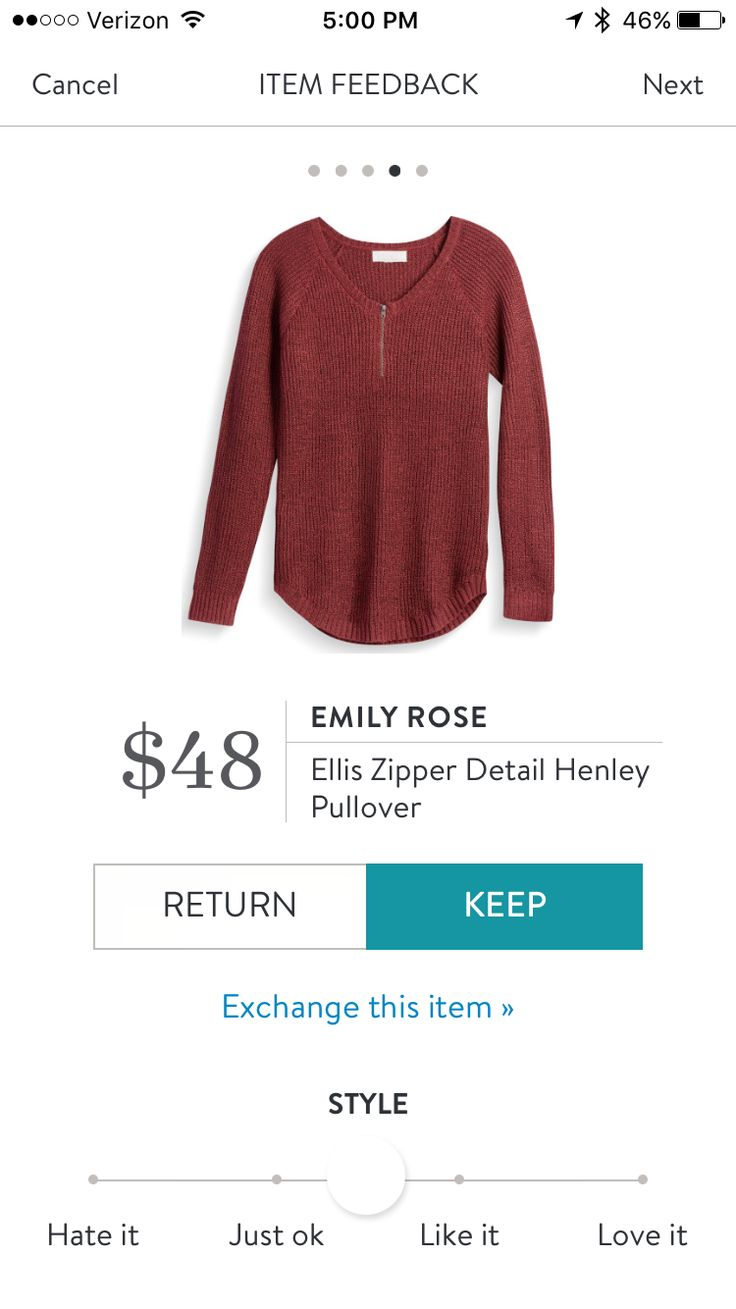 Emily Rose Ellis Zipper Detail Henley Pullover. Stitch Fix October 2016
