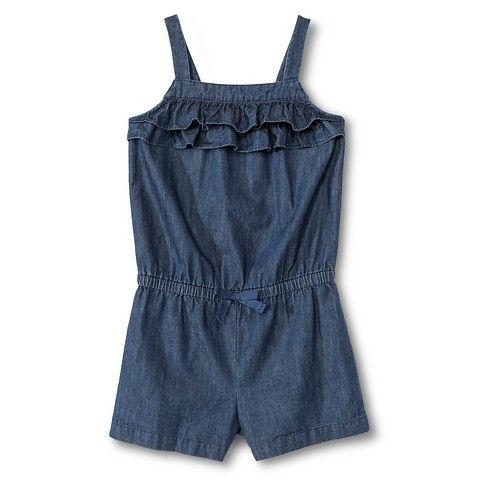 Saw this romper in Target a couple days ago! Obsessed! It's so stinking cute. Would look awesome with my Chartreuse, Grey & Denim Headband | Toddler Girls' Ruffle Denim Romper