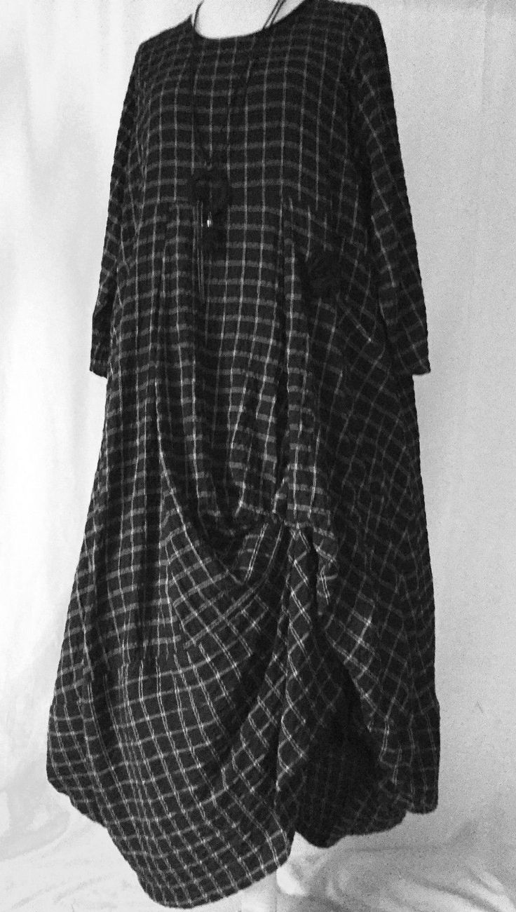 Stunning German Zedd Plus Quirky Lagenlook Black Check Parachute Dress L XL | eBay