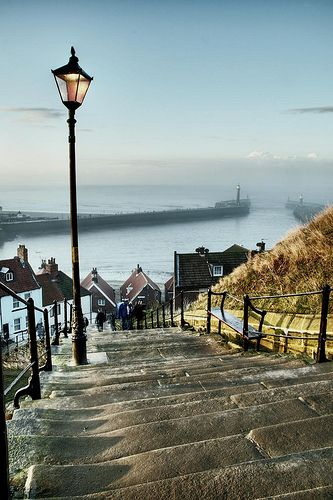 Whitby, England.  Near Whitby Abbey.  Took a pic of me, Jon and the boys at this exact spot!