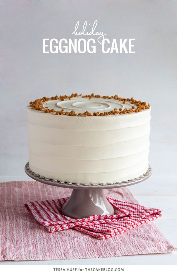 Eggnog Cake - a browned butter spice cake with eggnog buttercream | by Tessa Huff for TheCakeBlog.com