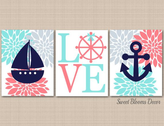 Coral Teal Nautical Wall Art,Navy Coral Aqua Gray Nursery Wall Art,Nautical Bathroom,Wall Art,Coral Gray Nutical Wall Art- Coral Teal Nautical Wall ArtNavy Coral Aqua by SweetBloomsDecor