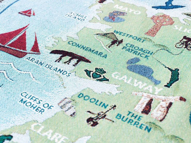 Ireland's Wild Atlantic Coast throw blanket - close up of Clare and Galway.