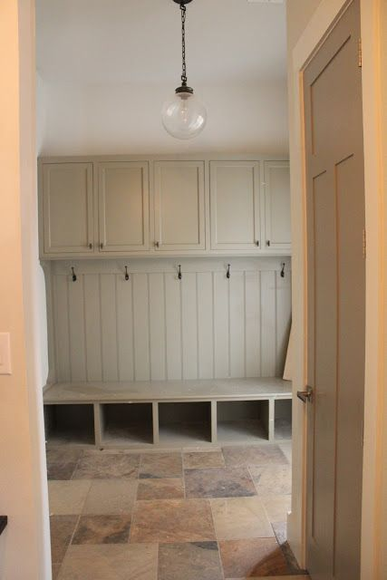 mudroom with soft green woodwork and slate floors. Same look, better color.