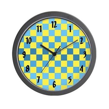 Blue & Yellow Squares Wall Clock from cafepress store: AG Painted Brush T-Shirts. #clock #wallclock #pattern #patterned