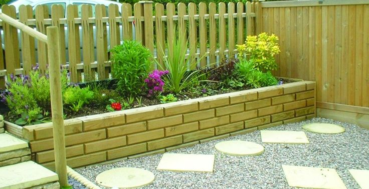 Garden Along Retaining Wall Raised Beds For Flowers Or