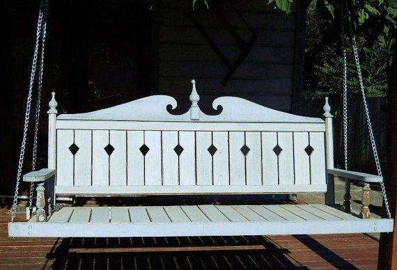 Antique porch swing in gray & blue
