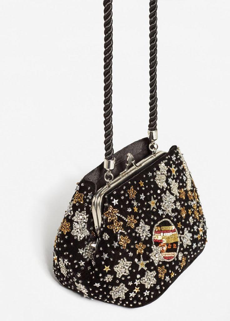 Бархатная сумка с бисером -  Женская | MANGO МАНГО Россия (Российская Федерация)
