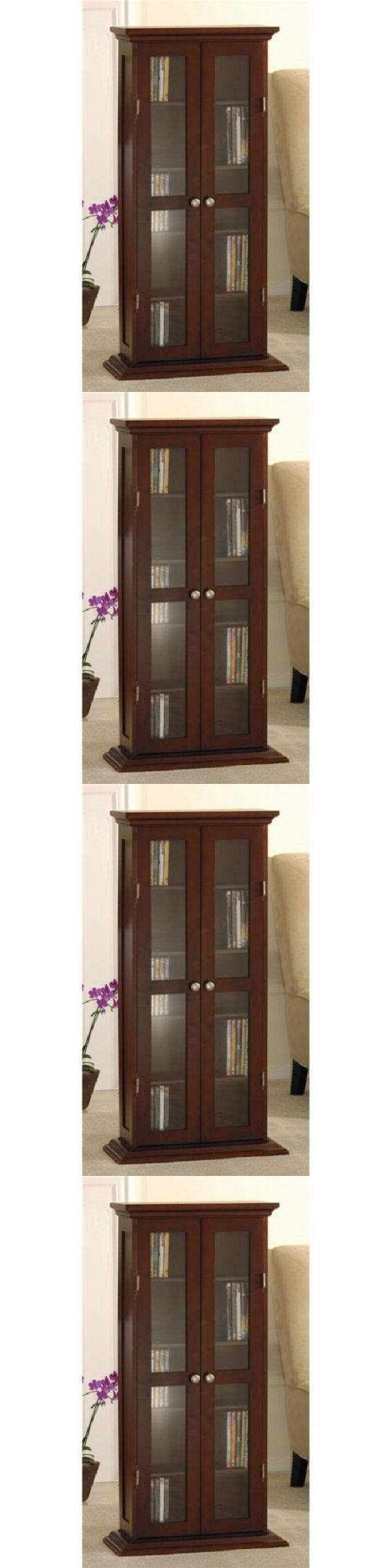 Media Cases and Storage: Wood And Glass Dvd Cd Cabinet Walnut Furniture Organize Storage Cabinet Decor -> BUY IT NOW ONLY: $131.96 on eBay!