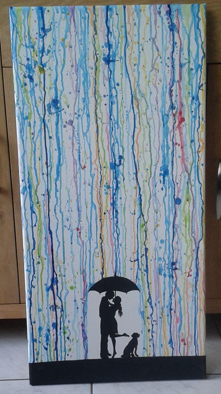 regen schilderij acryl verf op canvas