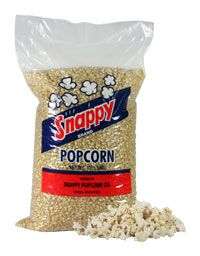 $10.00 12.5 lb. Bag White #Snappy #Popcorn Snappy white popcorn is an old fashioned popcorn lover's popcorn. The small kernel when popped creates a light and tender puff with less hulls for easier eating. Snappy Popcorn is family grown and is entering into a third generation of operations. We pride ourselves on quality and freshness.  SKU: 034 Weight: 14 lbs  http://www.snappypopcorn.com/productcart/pc/12-5-lb-Bag-White-Snappy-Popcorn-50p1088.htm