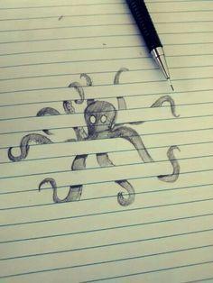 deze inktvis is cool dat kan alleen iemand tekenen die weet hoe dat moet