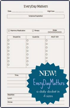 Planner Fun - free inserts, links, hacks & fun: Updated - EverydayMatters Daily Docket - Now in 5 Sizes [printable]