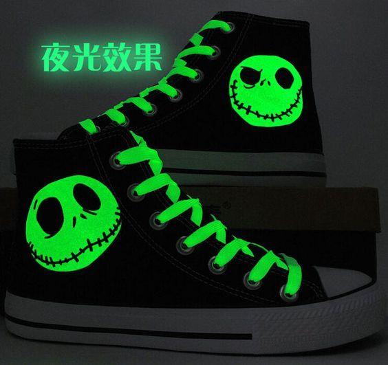 The Nightmare Before Christmas Men'S Canvas Shoes Skull Jack Luminous Women Shoe