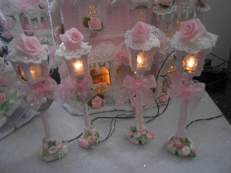 2 sets shabby pink victorian christmas village house light lamp post chic roses   | eBay