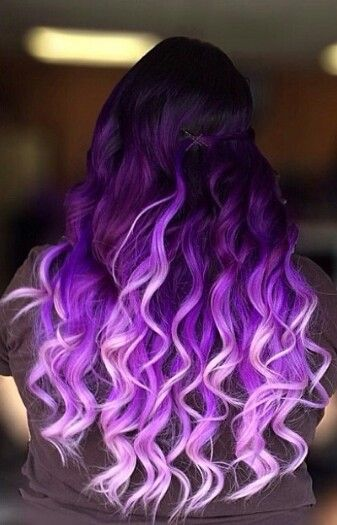 Purple Deep Light Violet Lilac Ombre Layered Gradient Hairstyle | Spring Summer Hairstyle Curls Colour Dye