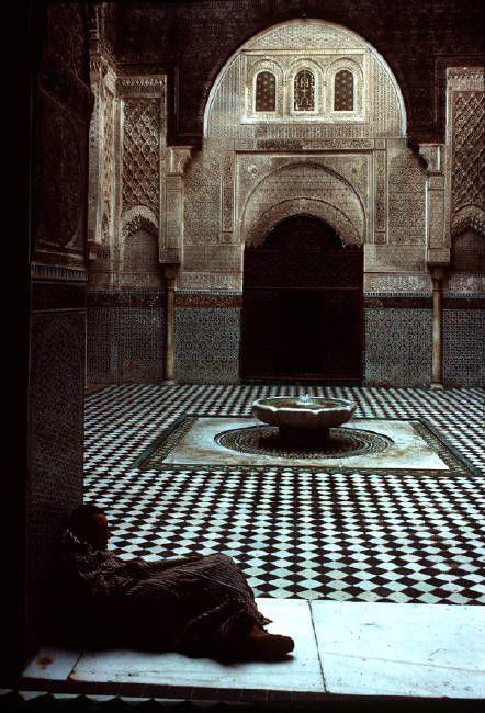 MoroccoFez. Interior of the medersa (koranic school) of el Attarine 1984