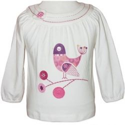 Beautiful long sleeve top with embroidered birds and mock button detail.  Sizes 1 & 2.