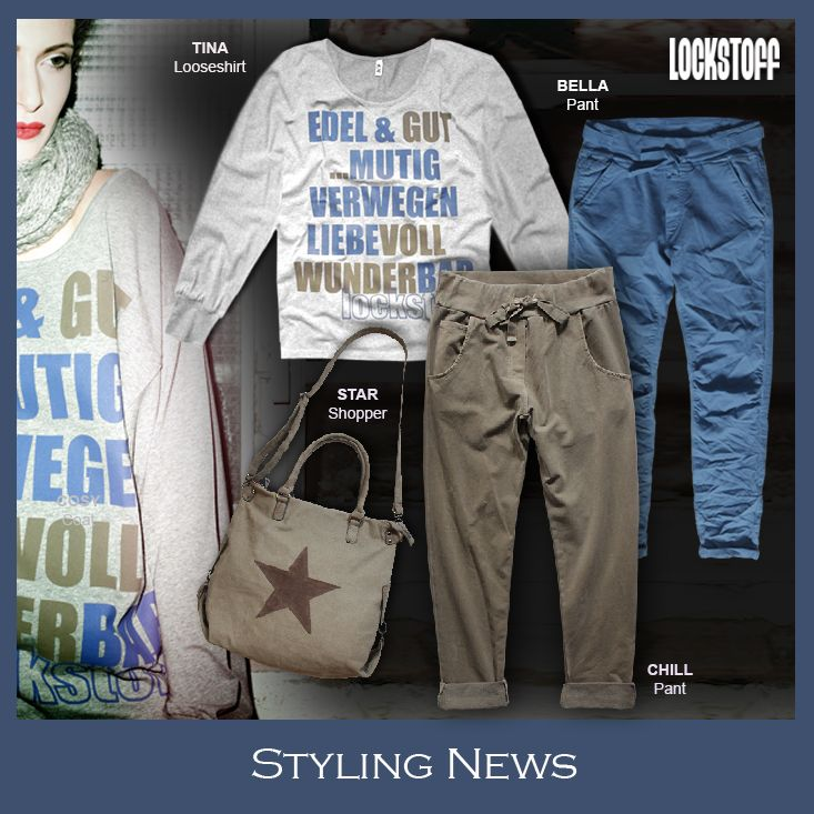 Styling News from LOCKSTOFF... TINA shirt, BELLA pant, CHILL jogpant #mode #fashion #casual #styling #outfit #statement #star #greymelange #blue #muddy #brown