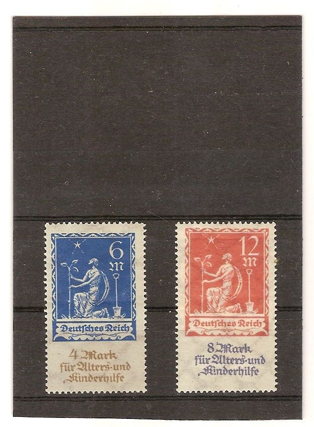 Briefmarken Deutsches Reich,1922 Wohlfahrt.Wz.Waffein MiNr 233-234