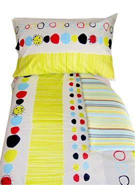 Funky bright bugs cot/toddler bed duvet and pillow case set. Complimentary stripes to underside of duvet and pillow case making this set reversible, two sets in one! For only R350