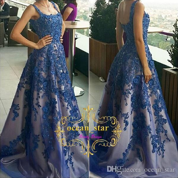 Gorgeous Blue Tulle Prom Dresses 2017 A Line Sleeveless Spaghetti Neck Zipper Back Appliques Beads Evening Dress Prom Gowns Short Prom Dresses 2015 From Ocean_star, $134.78| Dhgate.Com