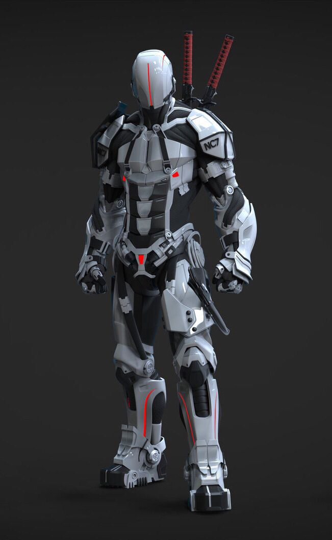Sci-fi future cyborg robot warrior / soldier in armor. Моделинг - вдохновение